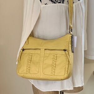 NWT Bueno Faux Leather Pale Yellow Crossbody Bag